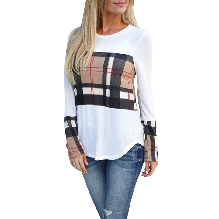 Women's Spring/Autumn Casual Plaid Patchwork Long-Sleeved T-Shirt