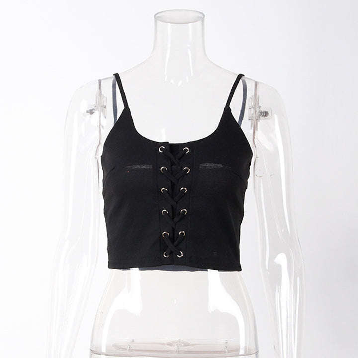 Women's Summer Casual Sleeveless Lace-Up Crop Top