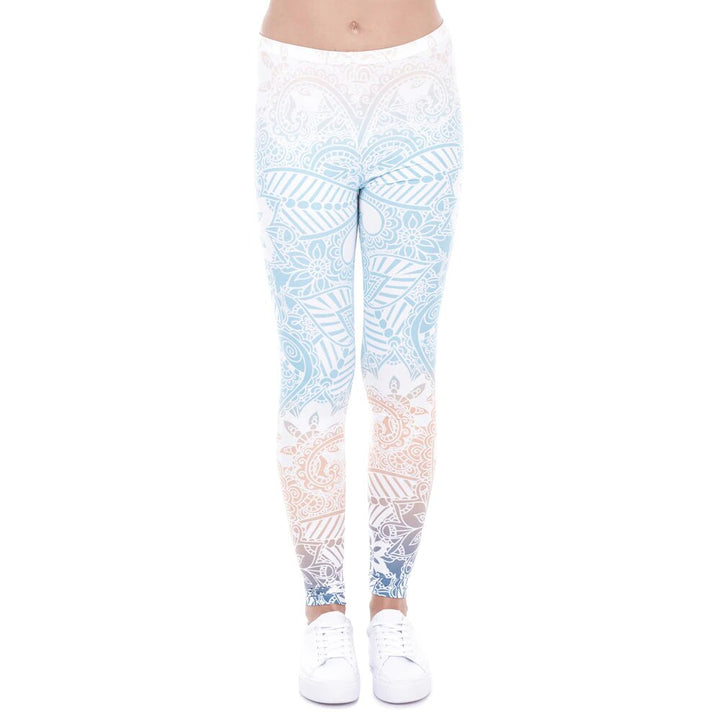Women's Summer Elastic Fitness Leggings With Mandala Mint Printing