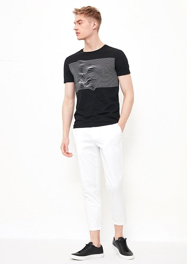Men's Summer Cotton Short-Sleeved T-Shirt With Irregular Line Printing