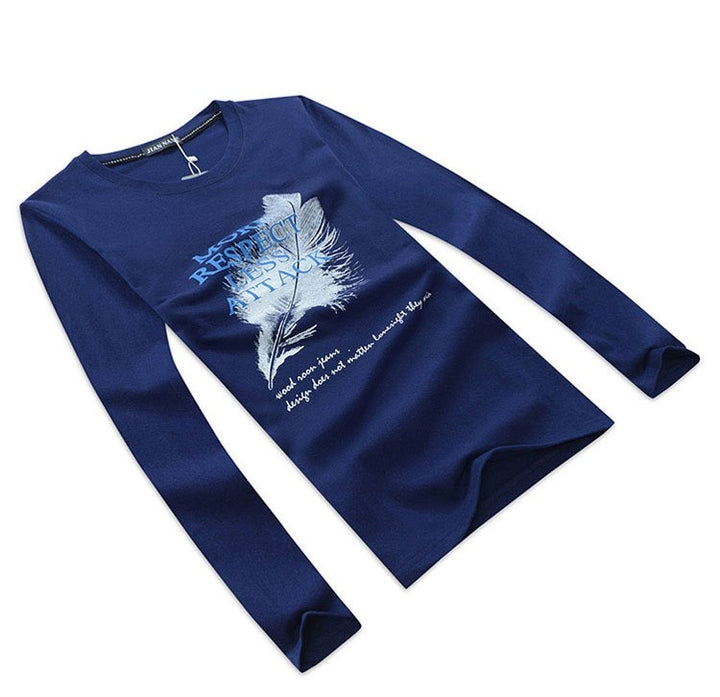 Men's Spring/Autumn Casual Long-Sleeved T-Shirt With Printed Feather