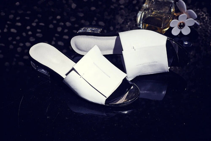 Women's Summer High Heels Leather Pumps | Open Toe Sandals