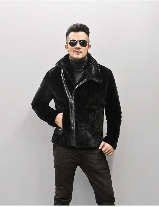 Men's Winter Warm Lamb's-Wool Genuine Leather Slim Jacket