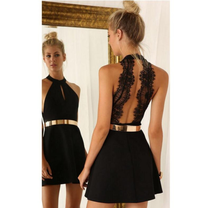 Women's Summer Backless Slim Lace Mini Dress