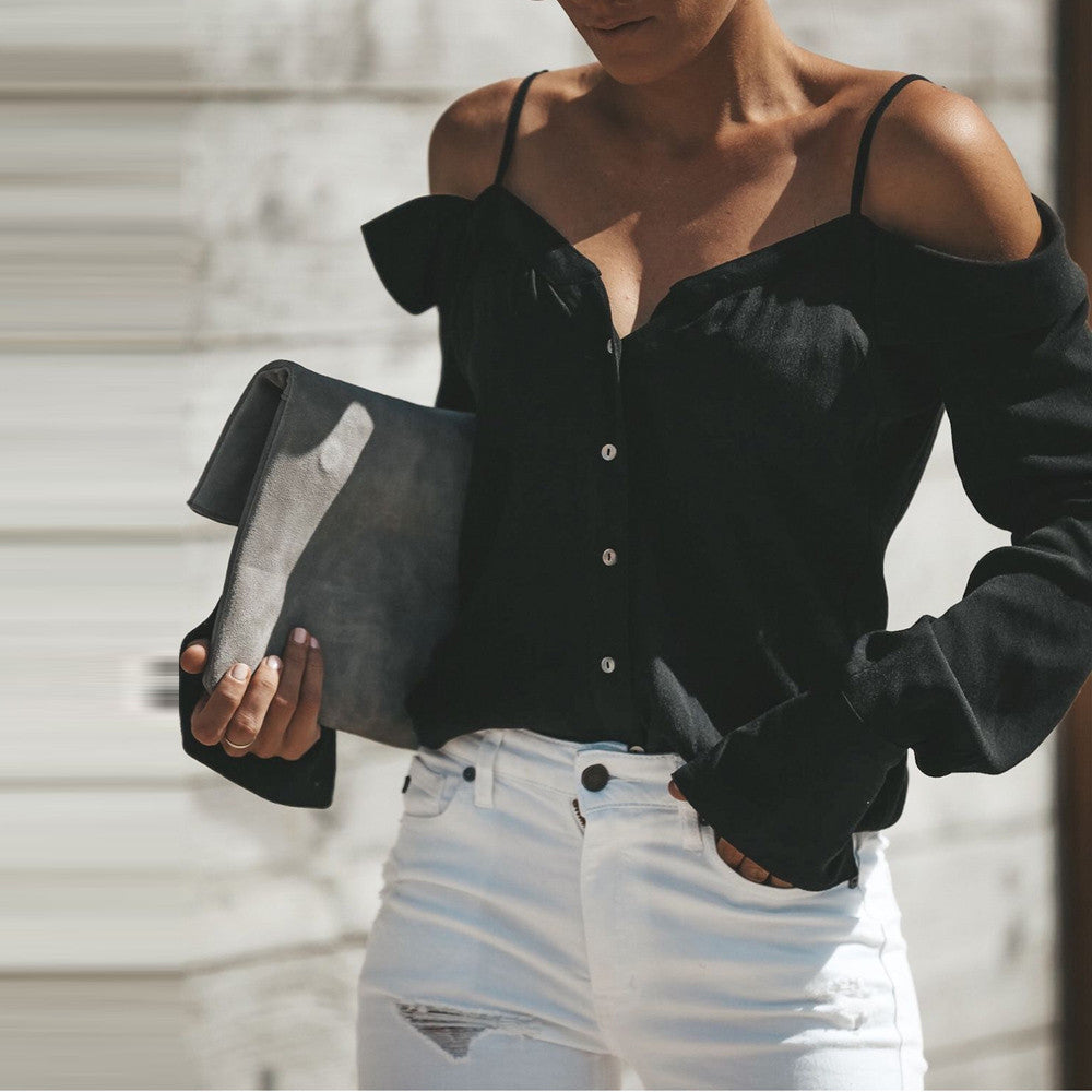 Women's Summer Off-Shoulder V-Neck Loose Blouse | Ladies Long-Sleeved Blouse