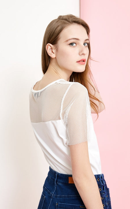 Women's Summer Mesh Splice Short-Sleeved T-Shirt