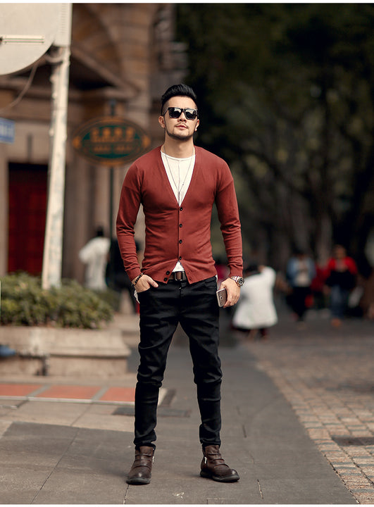 Men's Spring Thin Woolen Knitted Slim Cardigan