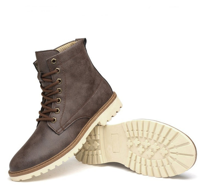 Men's Autumn/Winter Warm PU Leather Ankle Boots