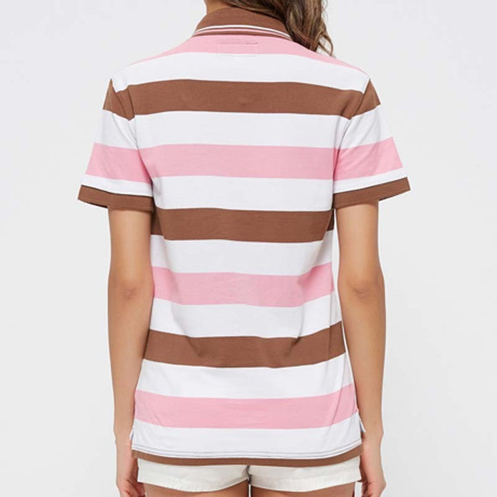Women's Summer Striped Casual Short Sleeved Cotton Polo - Zorket