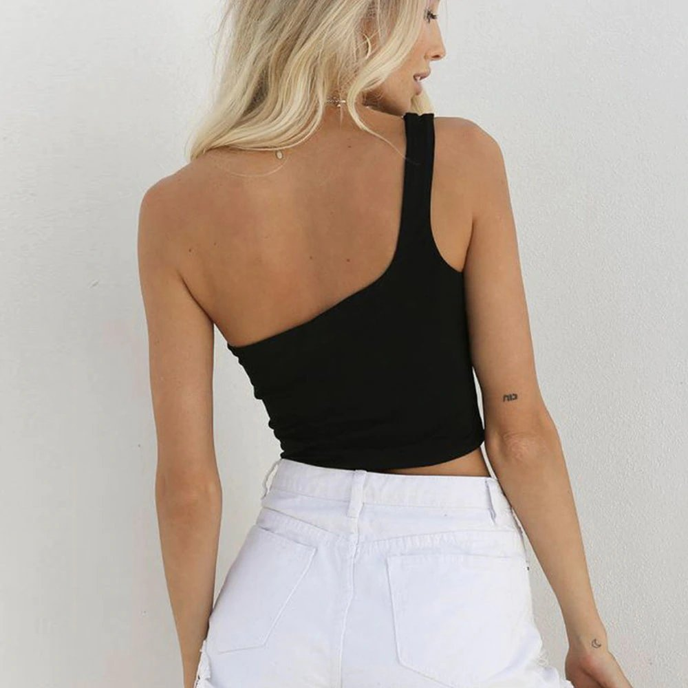 Women's Summer One Shoulder Sleeveless Crop Top