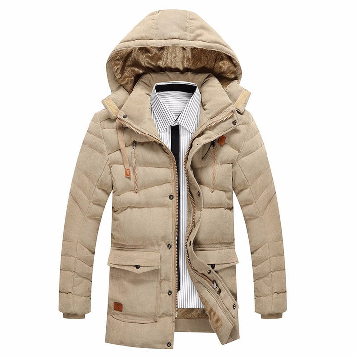 Men's Winter Warm Thick Hooded Parka With Fleece Lining