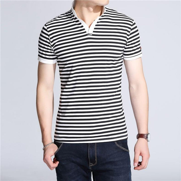 Men's Slim Fit Short Sleeve V-Neck T-Shirt