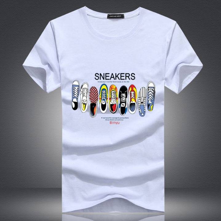 Men's Summer Short-Sleeved Slim Fit T-Shirt With Printed Sneakers