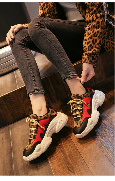 Women's Winter Leopard Mixed Colors Sneakers