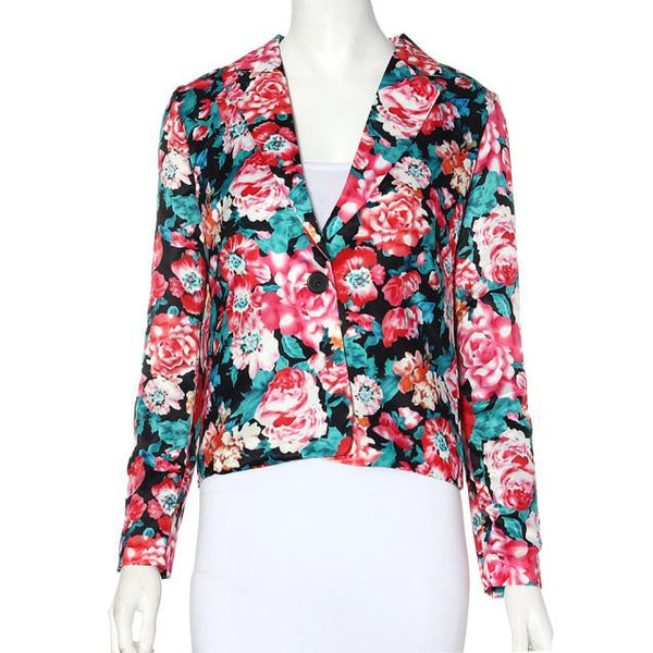 Blazer – Female Fashionable Turn-Down Collar Floral Blazer | Zorket