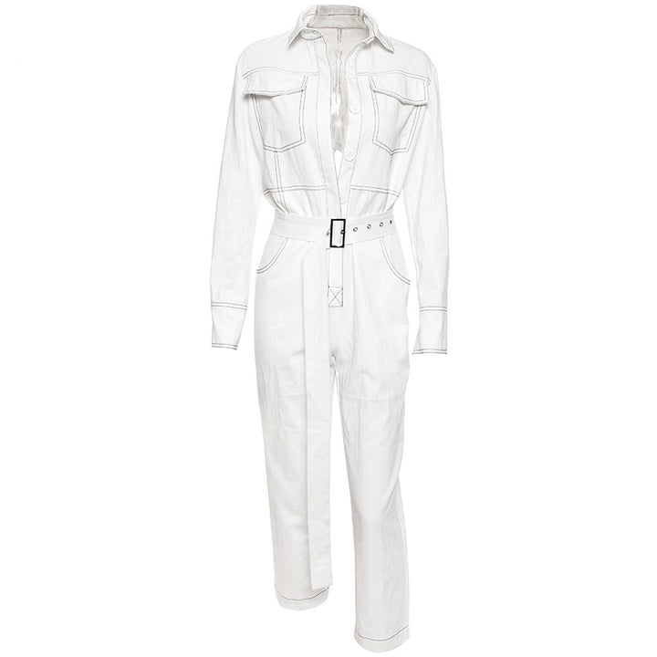 Women's Autumn/Winter Cotton Long-Sleeved Jumpsuit With Turn-Down Collar