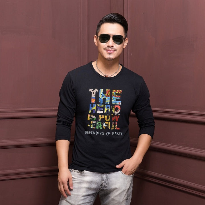 Men's Autumn/Winter Cotton O-Neck Long-Sleeved T-Shirt