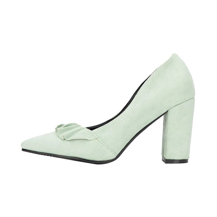 Women's Spring/Autumn Square-Heeled Suede Pumps With Ruffles