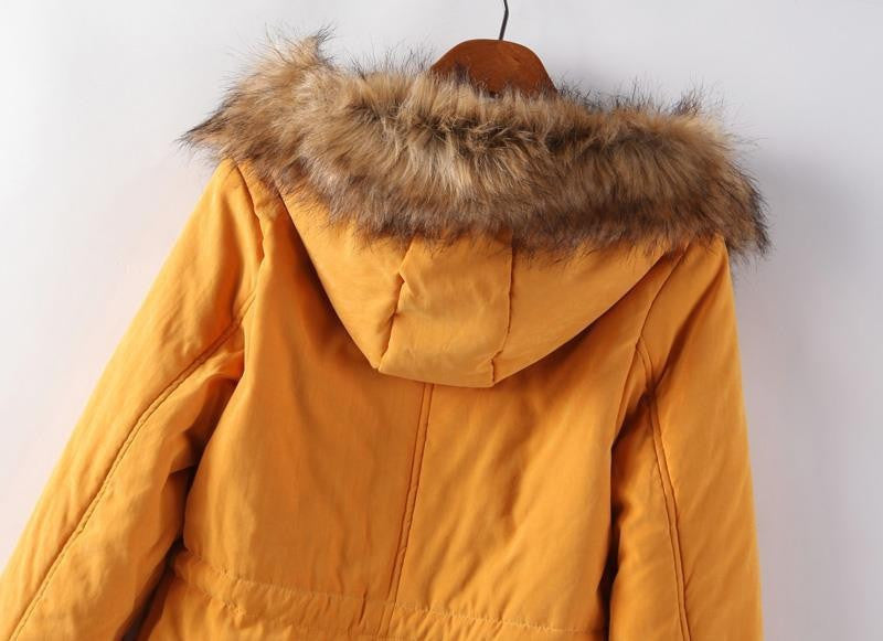 Solid Faux Fur Hooded Jacket For Women - Zorket