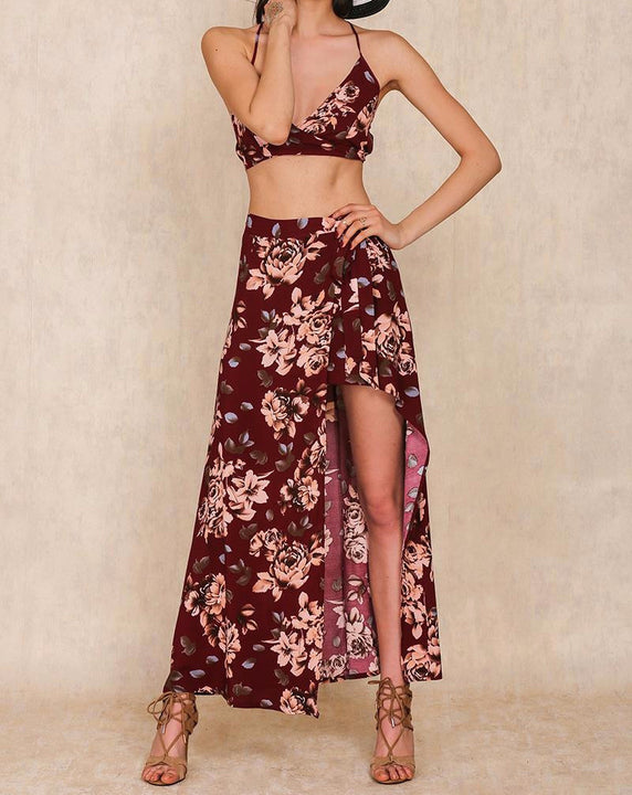Two Pieces Set Floral Print Women's Split Long Dress - Zorket