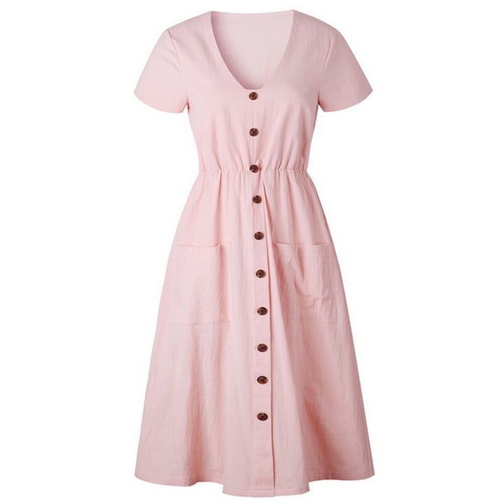 Women's Summer Vintage Dress With Pockets