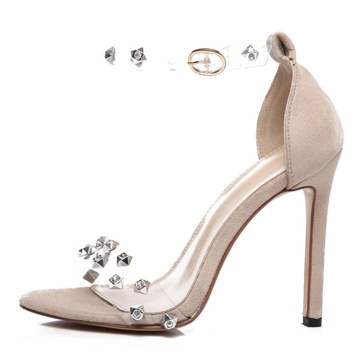 Women's Summer Flock High-Heeled Transparent Ankle-Wrap Sandals With Rivets