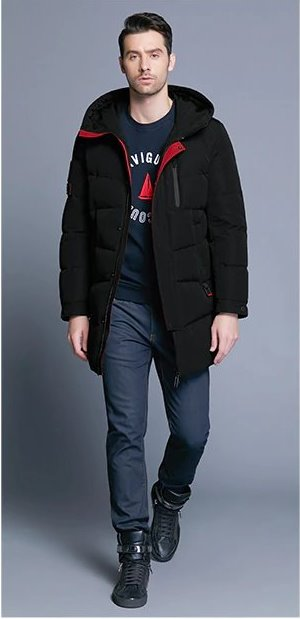 Men's Winter Warm Windproof Hooded Long Parka