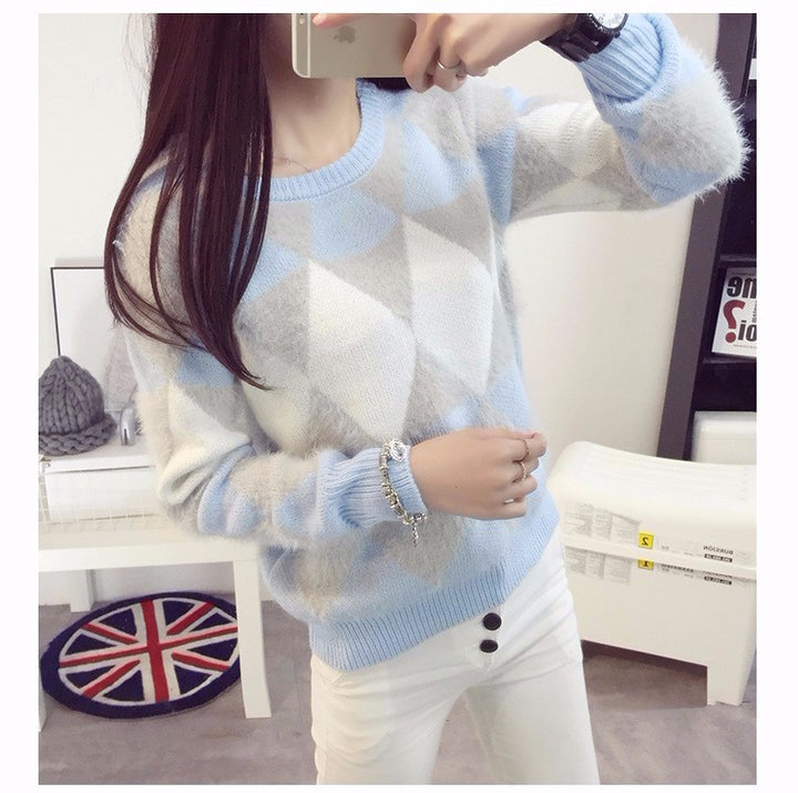 Women's Spring/Autumn Long-Sleeved Plaid O-Neck Wool Pullover