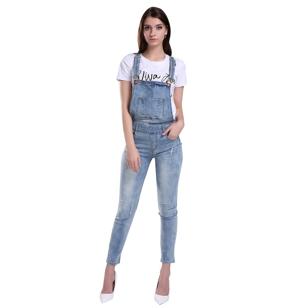Women's Slim Casual Denim Overall - Zorket