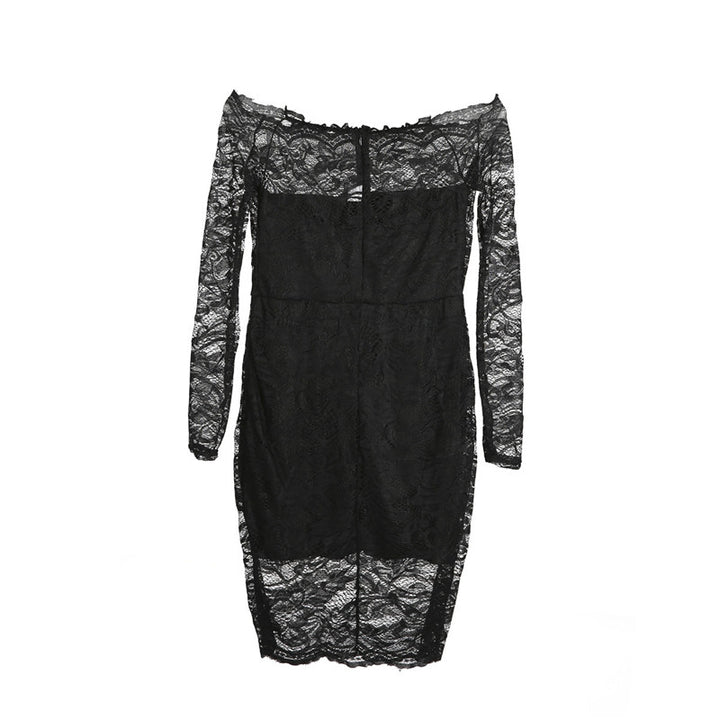 Women's Autumn Lace Slash Neck Off-Shoulder Sheath Mini Dress
