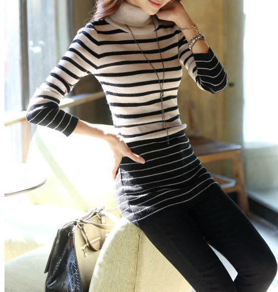 Women's Striped Sweater With High Neck - Zorket