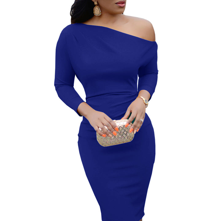 Women's Spring/Autumn Long-Sleeved Knee-Length One-Shoulder Bodycon Dress