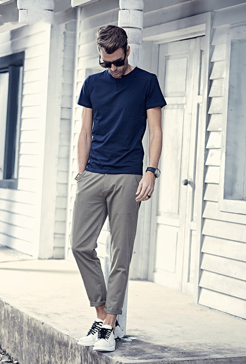 Men's Spring/Summer Casual Straigh Cotton Slim Fit Pants
