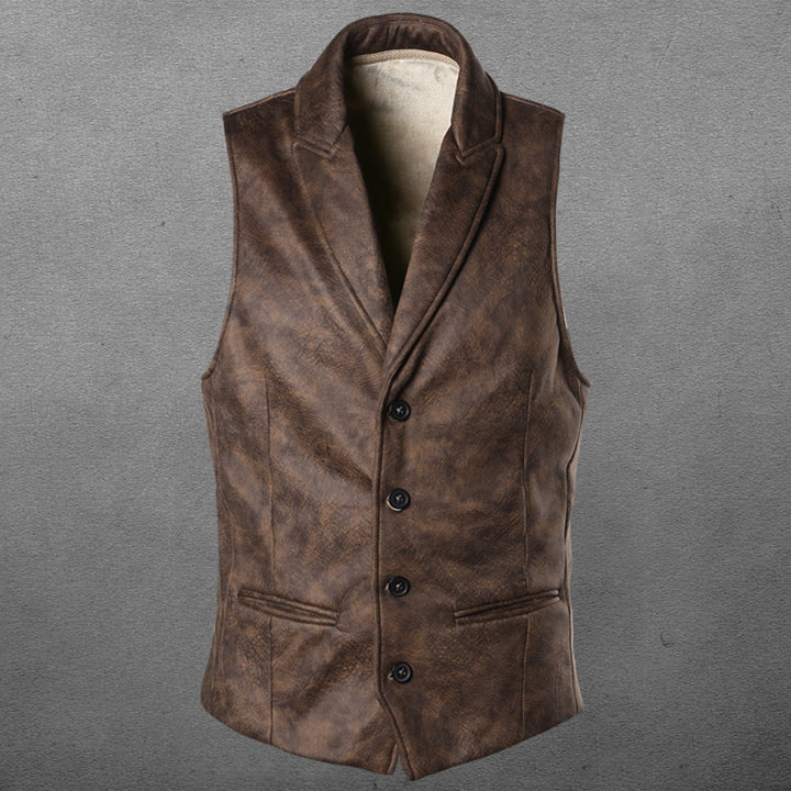 Men's Spring/Autumn Faux Leather Single-Breasted Slim Vest