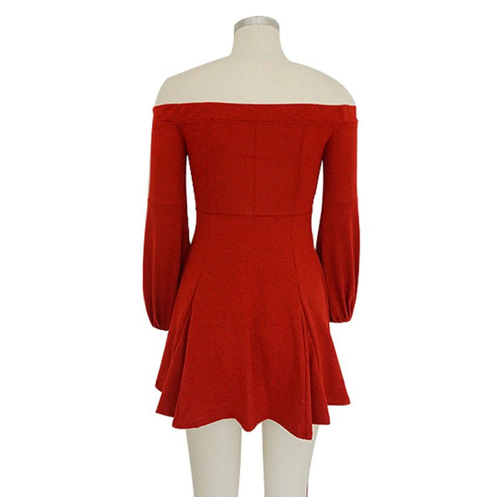 Women's Autumn/Winter Warm Elastic Long-Sleeved Knitted Off-Shoulder Mini Dress