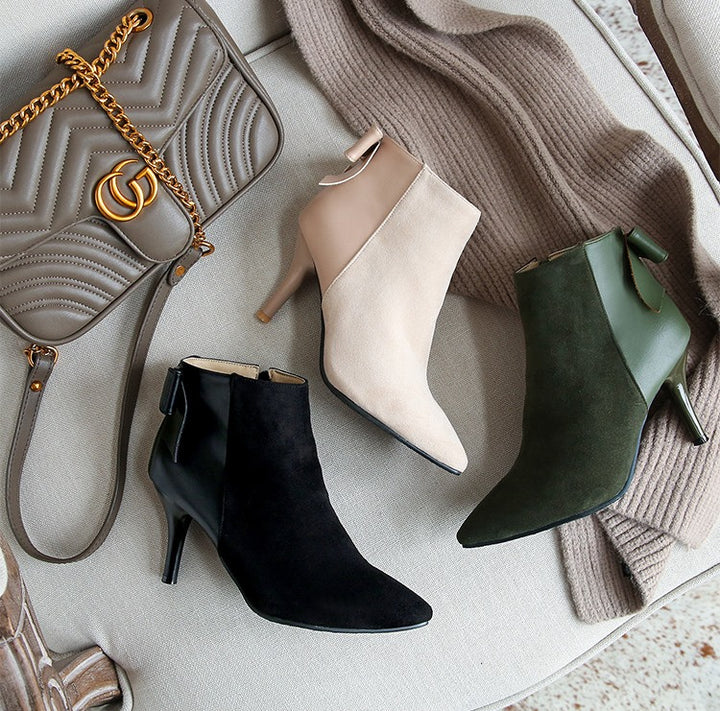 Women's Winter Elegant Thin High-Heeled Ankle Boots With Decorative Bow