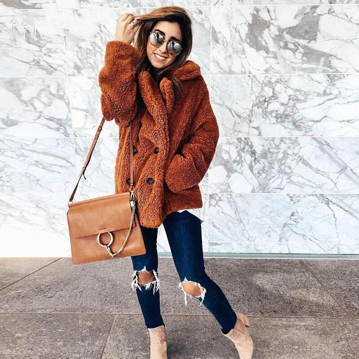 Women's Winter Soft Plush Thick Fleece Faux Fur Jacket