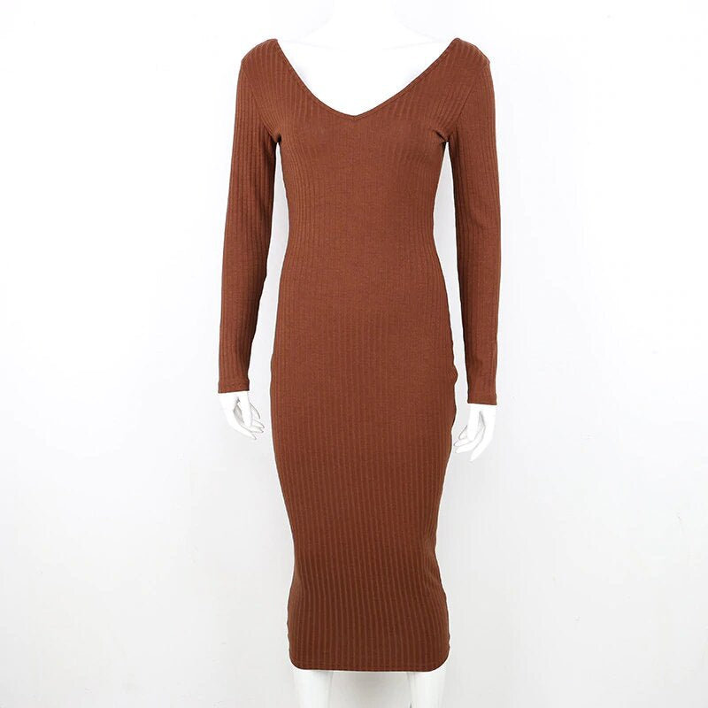 Women's Autumn/Winter Elastic Knitted V-Neck Long-Sleeved Maxi Sweater Dress
