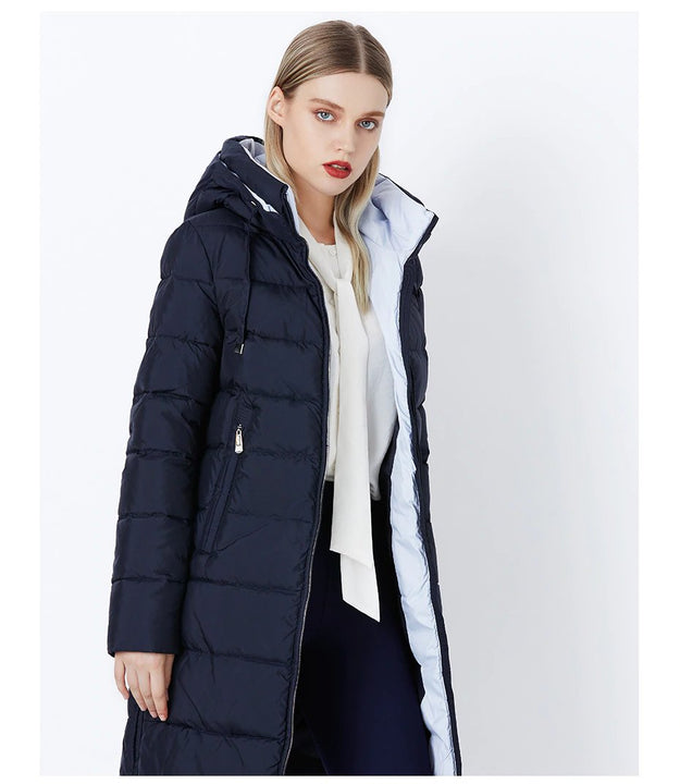 Women's Autumn/Winter Cotton Padded Windproof Long Down Jacket With Hood