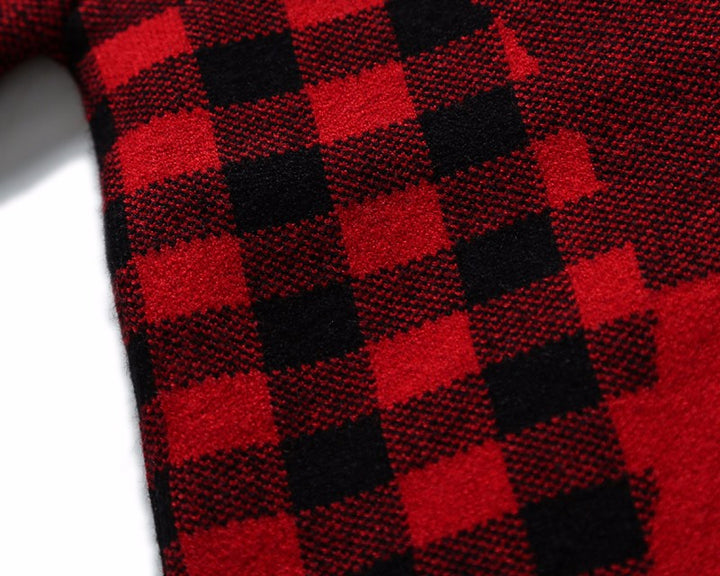 Winter And Autumn Men's Knitted Plaid Pullover - Zorket