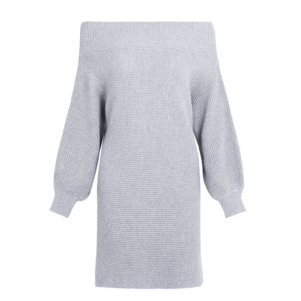 Off-Shoulder Long Knitted Sweater Dress