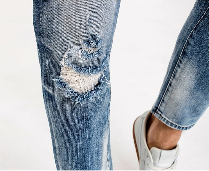Men's Autumn Cotton Ripped Slim Fit Jeans