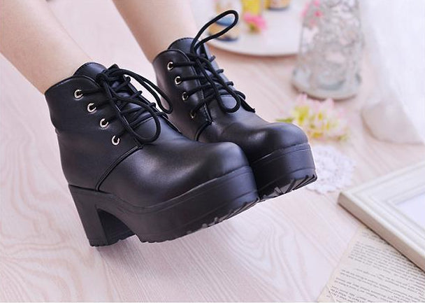 Women's Spring/Autumn High-Heeled PU Leather Ankle Boots