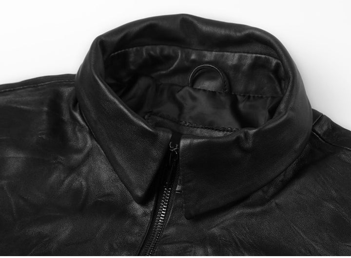Men's Spring/Autumn Retro Genuine Leather Zippered Slim Jacket With Stand Collar