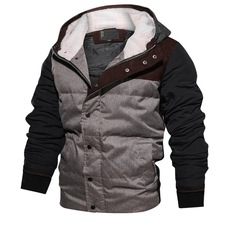 Men's Winter Warm Thermal Cotton-Padded Down Bomber With Knitted Hood