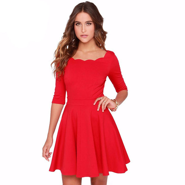 A-Line Dress – Elegant Mini-Dress With Wave Round Neck | Zorket