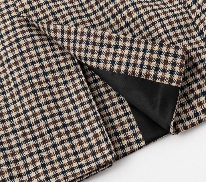 Women's Autumn Double Breasted Plaid Blazer
