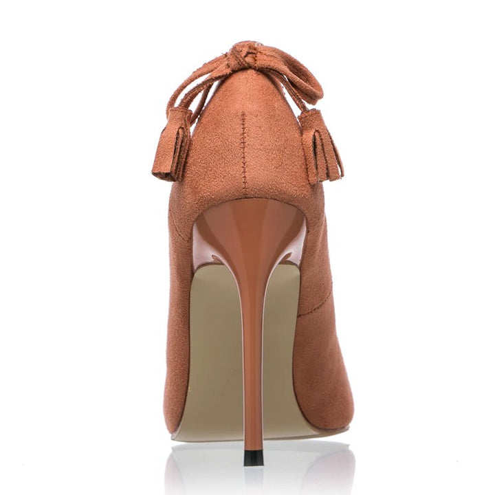 Women's Spring/Autumn Flock High-Heeled Pumps With Bow-Knot