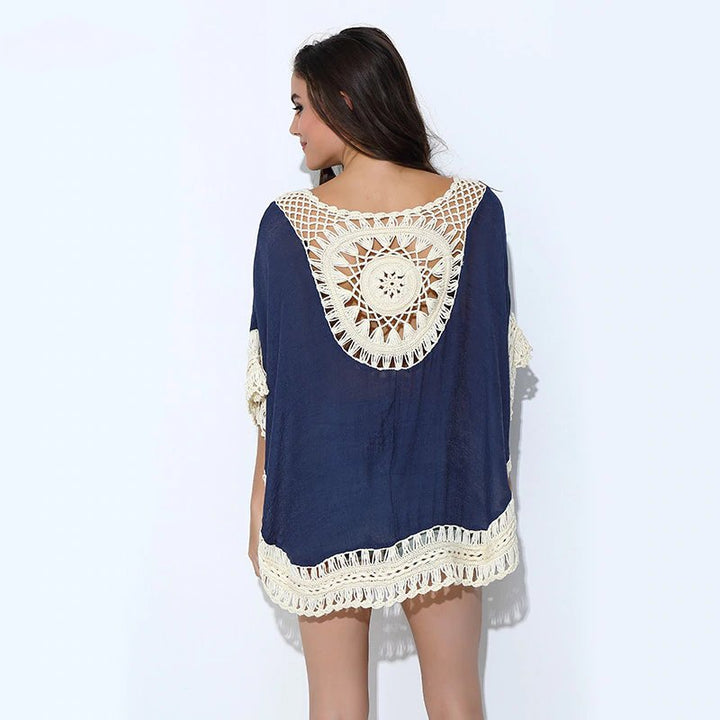 Women's Summer Handmade Crochet Lace Loose T-Shirt