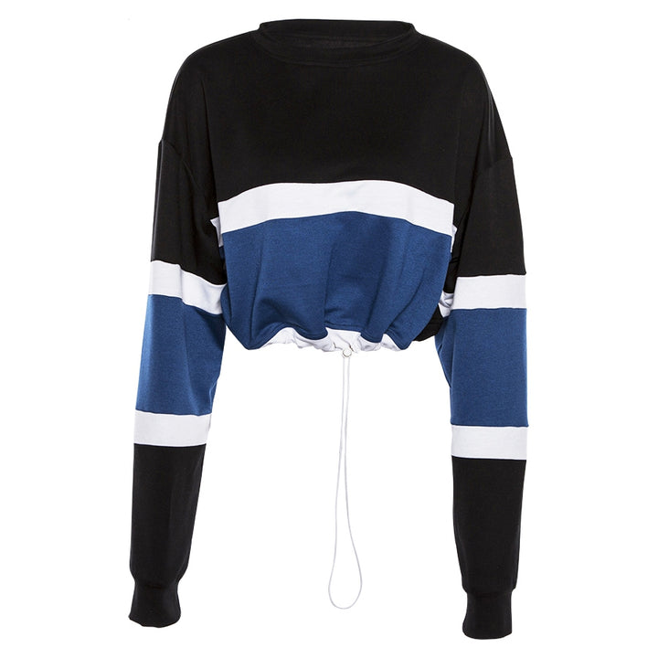 Women's Autumn/Winter Striped Patchwork O-Neck Cropped Sweatshirt With Drawstring